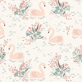 Cotton Dashwood fabric - Off-white Swan lake x 10cm