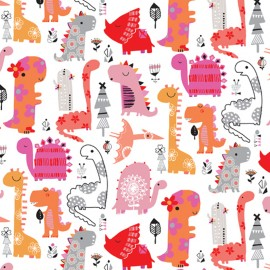 Cotton Dashwood fabric - Pink Dino Party x 10cm