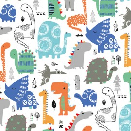 Tissu coton Dashwood Dino Party - Bleu x 10cm