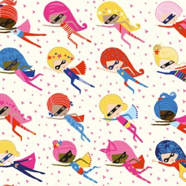 Cotton Dashwood fabric - Pink Supergirl x 10cm