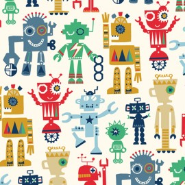 Cotton Dashwood fabric - white Robot Party x 10cm