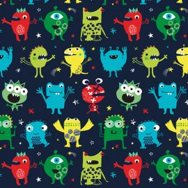 Cotton Dashwood fabric - Navy Monster Party x 10cm