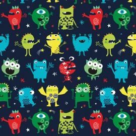 Tissu coton Dashwood Monster Party -  marine x 10cm