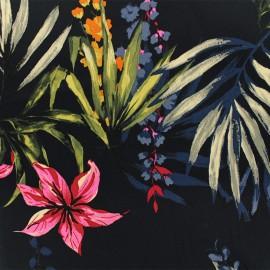 Tissu Gabardine satin Nuit tropicale - marine x 10cm