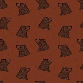 Organic Jersey fabric - Rust Bear Bloome Copenhagen x 10 -cm