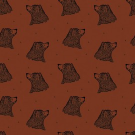 Tissu jersey Bio Bloome Copenhagen Bear - Orange x 10cm