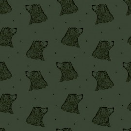 Tissu sweat léger Bio Bloome Copenhagen Bear - Kaki clair x 10cm