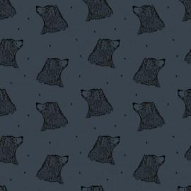 Tissu sweat léger Bio Bloome Copenhagen Bear - Bleu gris x 10cm