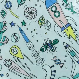 Tissu coton enduit Rico Design Insectes - gris x 10cm