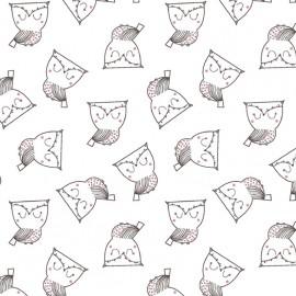 Cotton fabric - White Pretty Owl x 10cm