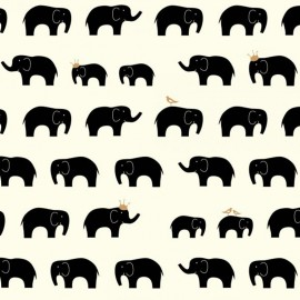 Organic cotton Fabric Black elephant - cream x 10cm