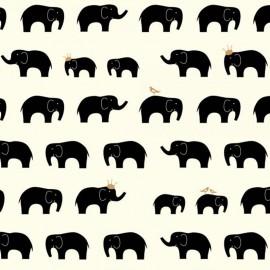 Tissu Coton bio Black Elephant - écru x 10 cm