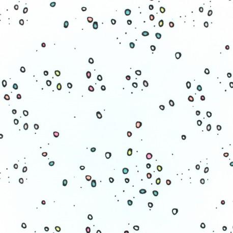 Tissu coton Rico Design Confetti néon - blanc x 10cm