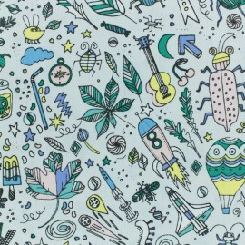 Poplin Cotton fabric by Rico Design - light grey insects x 10cm