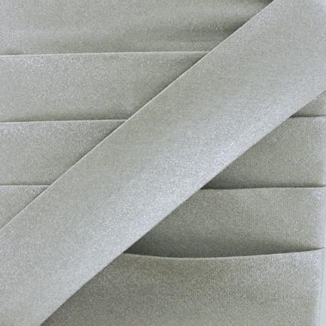 Glittery Coated Bias Binding - Silver Glow x 1m