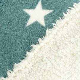 Tissu doudou envers mouton étoile - vert x 10cm