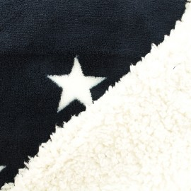 Baby's security blanket double sided sheep fur - Navy star x 10cm