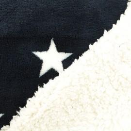 Tissu doudou envers mouton étoile - marine x 10cm