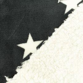 Tissu doudou envers mouton étoile - gris foncé x 10cm