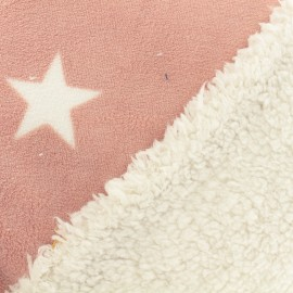 Tissu doudou envers mouton étoile - rose x 10cm