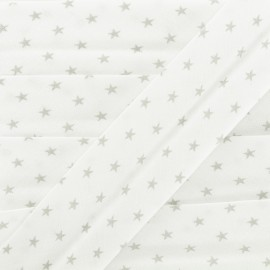 Biais Coton Etoiles - Gris x 1m