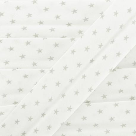 Biais Coton Etoiles - Gris