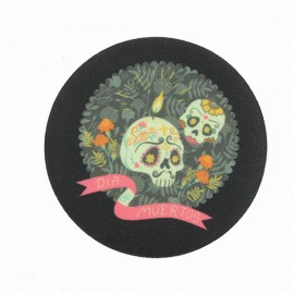 Dia Muertos Iron-On Patch - Black
