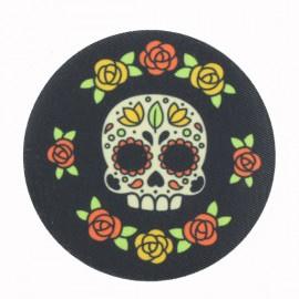 Calavera con Flores Iron-On Patch - Black