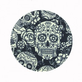Skull and Roses Iron-On Patch - Blue