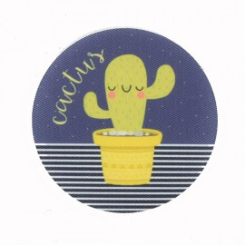 Potted Cactus Iron-On Patch - Blue