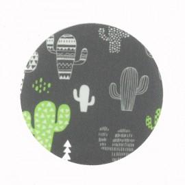Cactus Géo Iron-On Patch - Grey