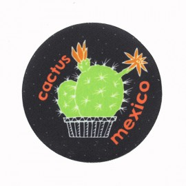 Cactus Mexico Iron-On Patch - Black