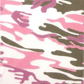 Tissu thermocollant velours - Army rose x10 cm