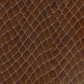 Tissu thermocollant Cuir de python - marron  x10 cm