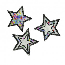 3 Magic Iron-On Stars- Black