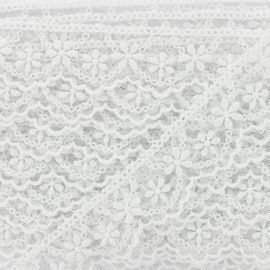 Embroidery on tulle Ribbon - White Lynette x 1m