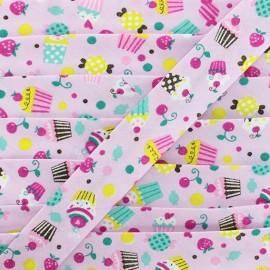 Biais Coton Bio Cupcake - Rose x 1m