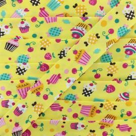 Biais Coton Bio Cupcake - Jaune x 1m