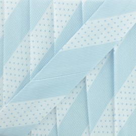 Poly Cotton Bias Binding - Sky Blue Dot Stripe x 1m