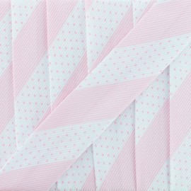 Poly Cotton Bias Binding - Pink Dot Stripe x 1m