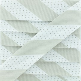 Poly Cotton Bias Binding - Grey Dot Stripe x 1m