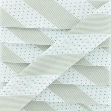 Poly Cotton Bias Binding - Grey Dot Stripe x 1m