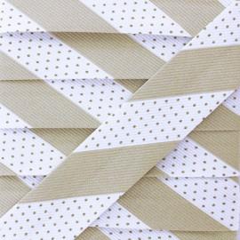 Biais Polycoton Pois Rayure - Ficelle x 1m