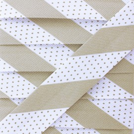 Poly Cotton Bias Binding - Beige Dot Stripe x 1m