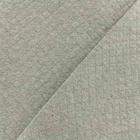 Quilted jersey fabric - grey/mottled neon x 10cm