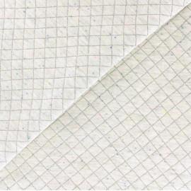 Tissu jersey chiné matelassé - gris clair /moucheté fluo x 10cm