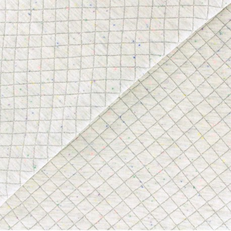 Quilted jersey fabric - light grey/mottled neon x 10cm