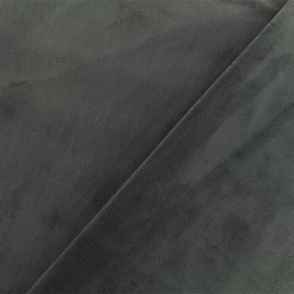 Tissu velours ras double face Elena - gris foncé x10cm