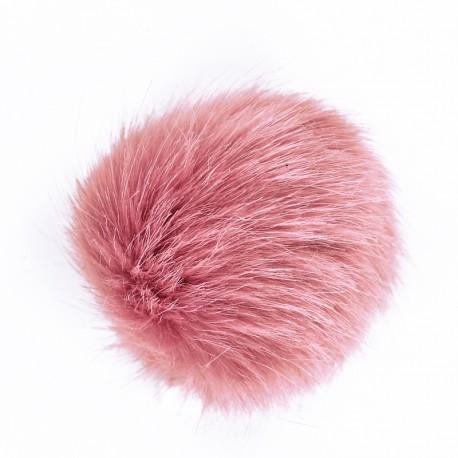 Round Faux Fur Pom Pom - Old Pink Unic