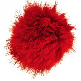 Round Faux Fur Pom Pom - Red Unic